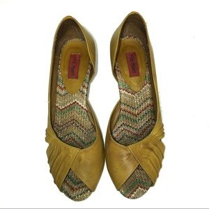Miz Mooz Shoes - Miz Mooz Wendy Leather Mustard Yellow Peep Toe